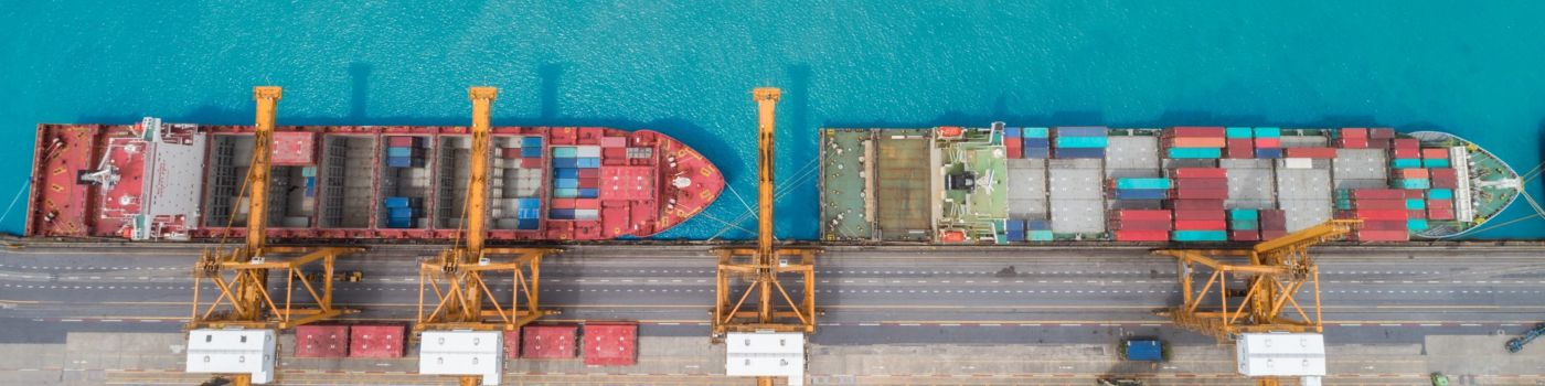 Aerial view of two container ships