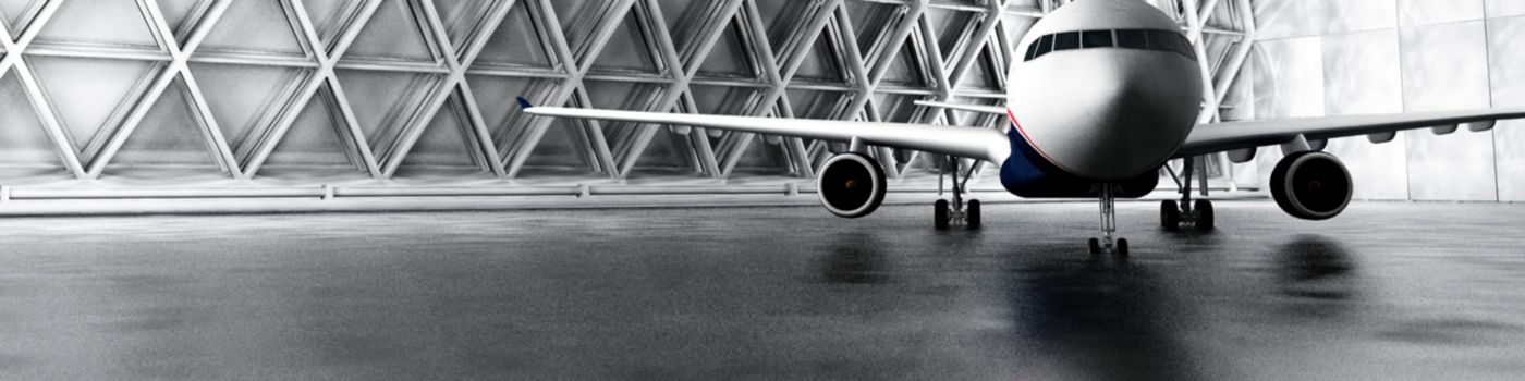 Aero plane standing in shed