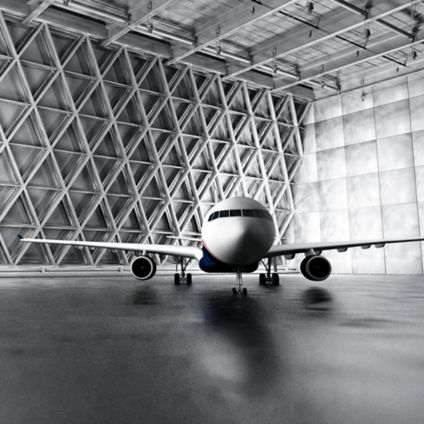 Airplane standing in shed