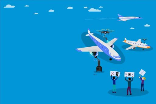 Aeroplanes, drones and people holding placards - illustration