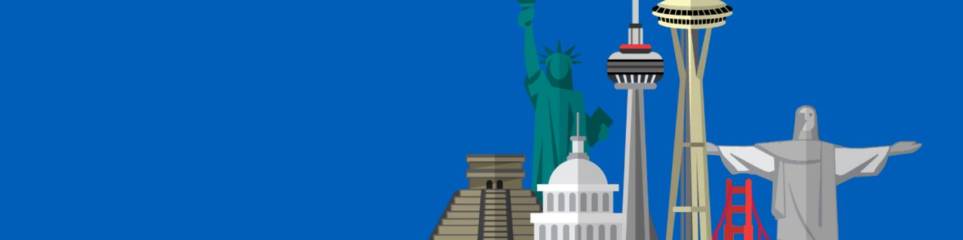 American wonders of the world illustration against blue background