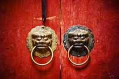 Ancient chinese red door knocker