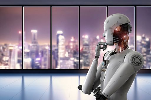 Android Robot thinking with city skyline in background