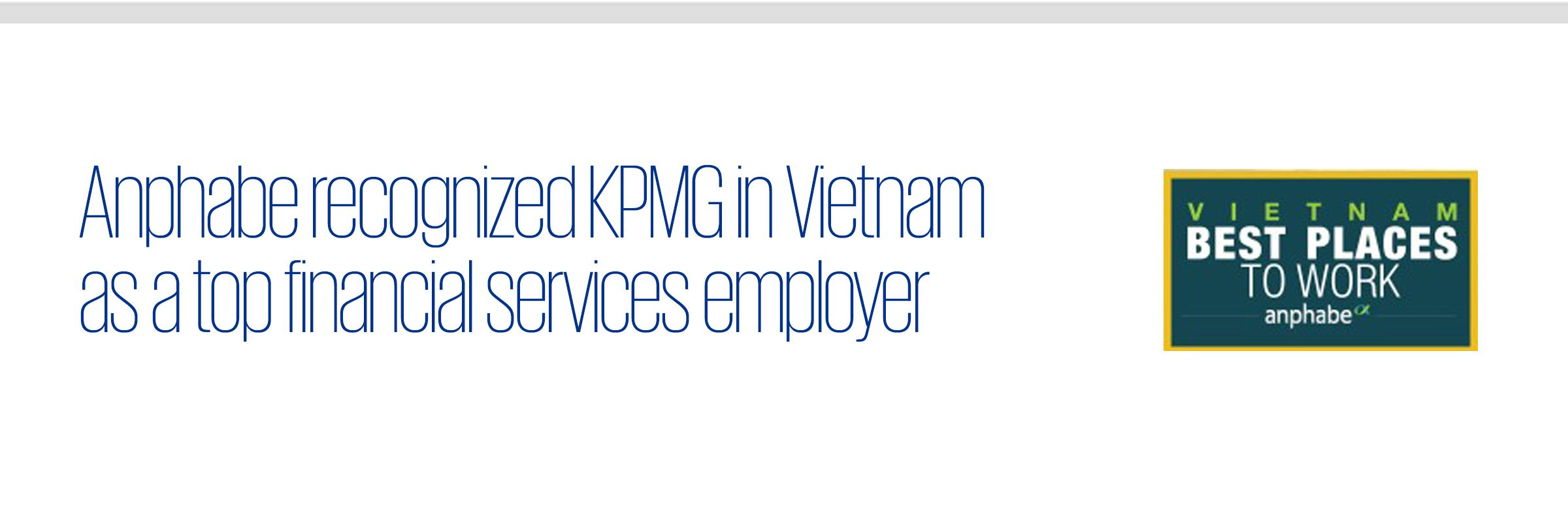 Anphabe recognized KPMG in Vietnam as a top financial services employer