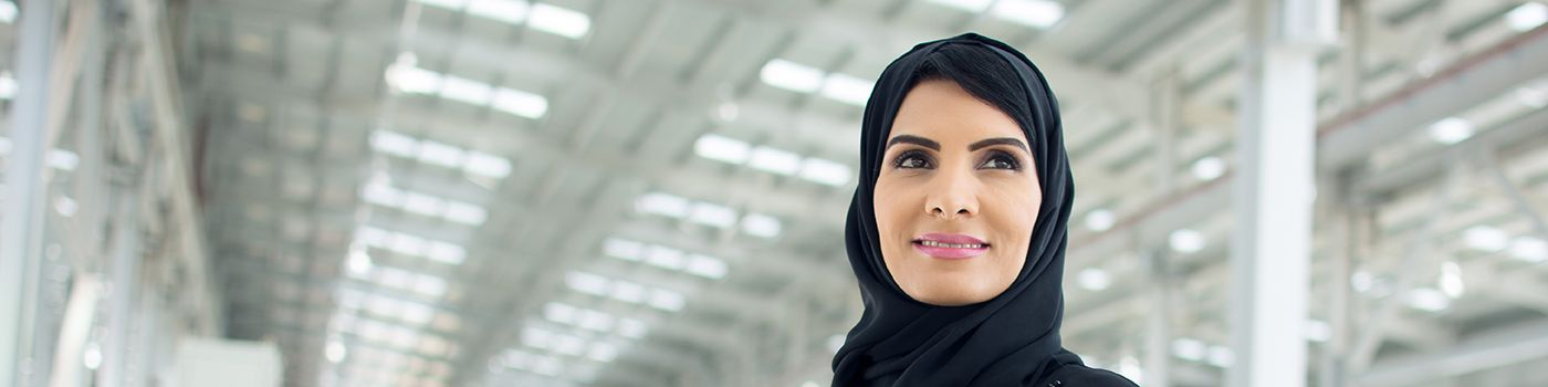 Arabic woman with blur white background