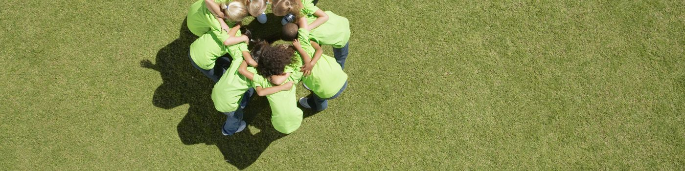 Group of children in huddle