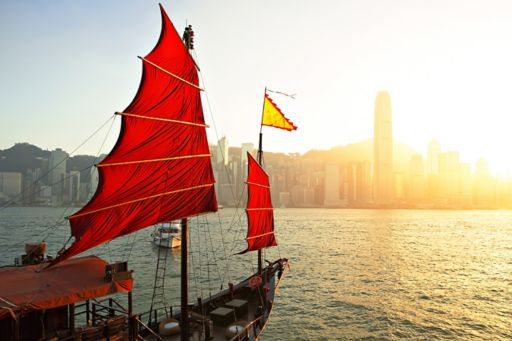chinese styled red boat in Hong Kong