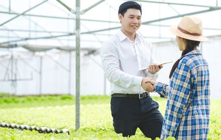 Business man hand shake with woman farmer after successful agreement