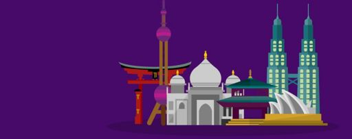 Asian wonders of the world illustration against purple background