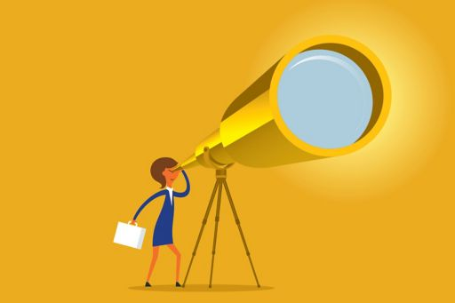 Illustration of a woman looking through telescope