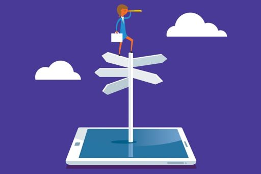 Woman on top of signpost and smart device with a telescope illustration
