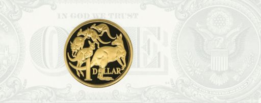 Australian Dollar coin with US Dollar note