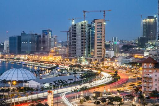 Beautiful city with lights and building under construction
