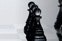 Black glass chess pieces