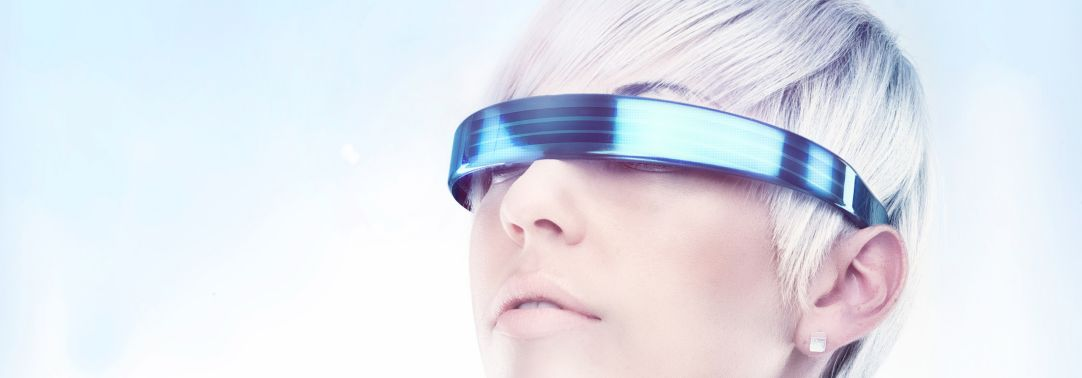 blonde woman wearing virtual reality glasses