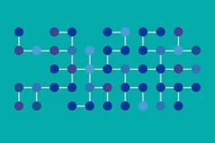 Blue and purple dots connected against cyan background