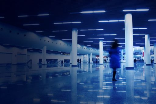 Blue tunnel with lights