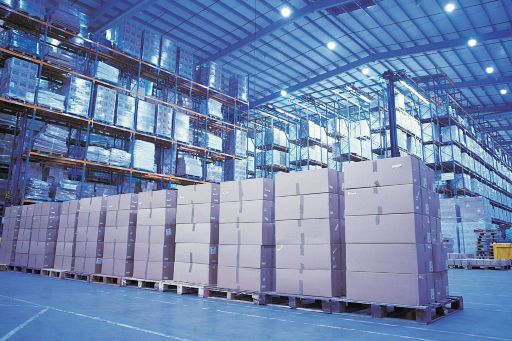 Boxes on pallets.