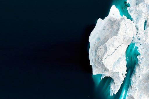 Piece of ice breaking off from a glacier