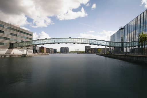 Bridge over canal connecting two buildings