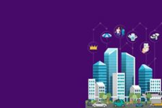 Mobility 2030: Future for Financial Services - illustration of high buildings with icons above
