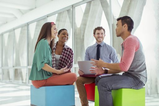 Business people meeting on colourful stools