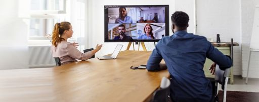 Real estate professionals having a video conference