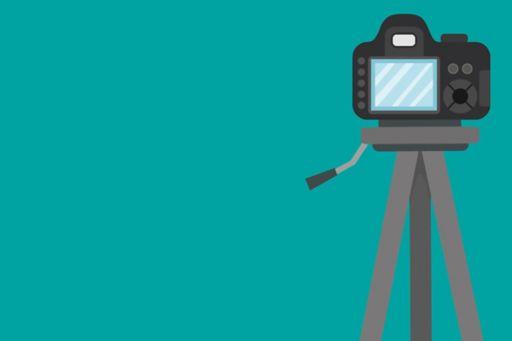 Camera stand on green background