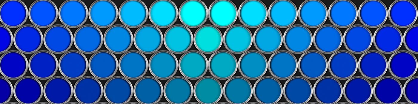 Cans in shades of blue