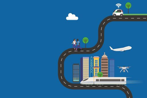Car, people, train on road track in front of buildings on blue background illustration
