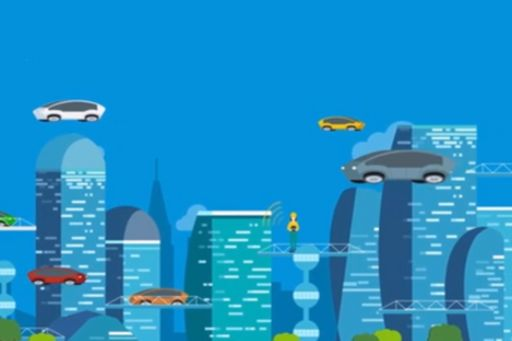 cars floating above buildings