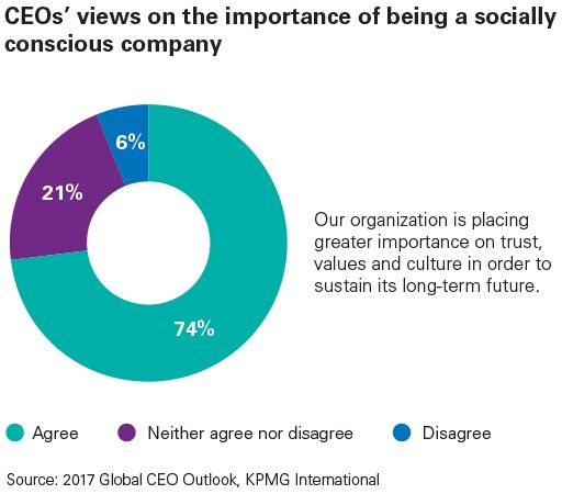 CEOs views on the importance of being a socially conscious company infographic