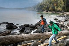 Changing Futures risk - children scrambling along the coastline