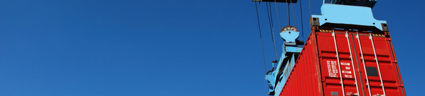 red container on blue sky