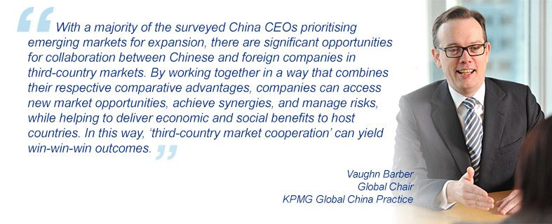 """""""With a majority of the surveyed China CEOs prioritising emerging markets for expansion, there are significant opportunities for collaboration between Chinese and foreign companies in third-country markets. By working together in a way that combines their respective comparative advantages, companies can access new market opportunities, achieve synergies, and manage risks, while helping to deliver economic and social benefits to host countries. In this way, 'third-country market cooperation' can yield win-win-win outcomes."""" Vaughn Barber, Global Chair, KPMG Global China Practice"""