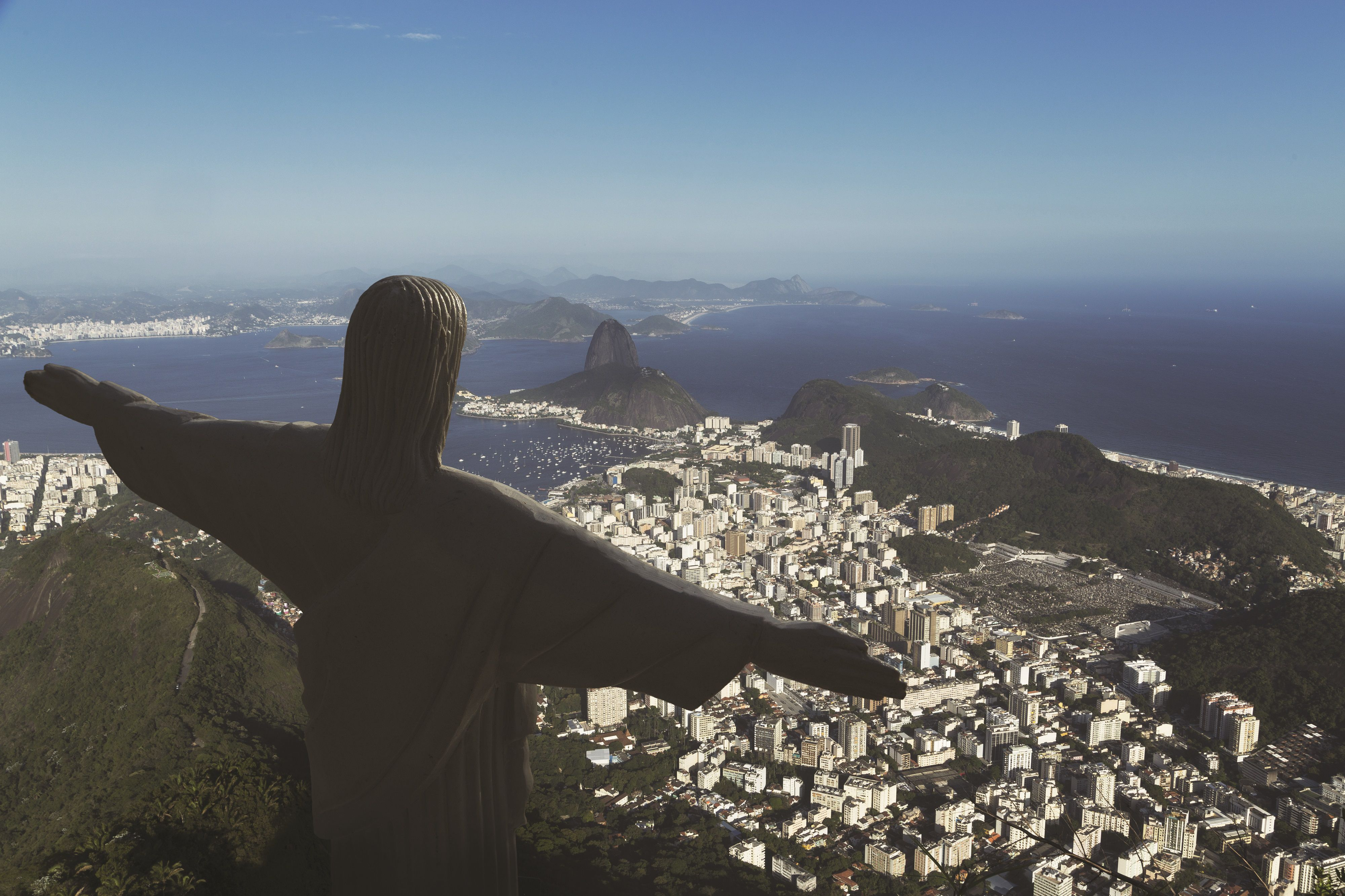 Christ the redeemer statue and the coastline