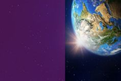 earth in space with purple colour
