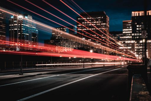 City at night with light trails