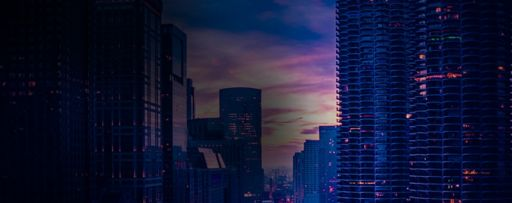 City skyscrapers at dusk