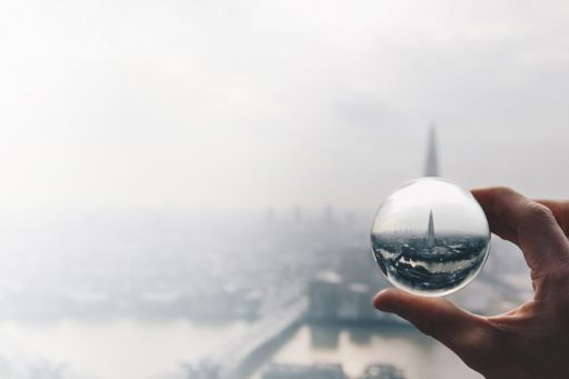 city-through-glass-sphere