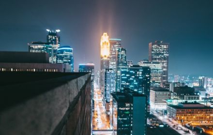 City view with lights at night