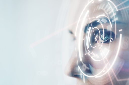 Close up of woman's eye with visual effects
