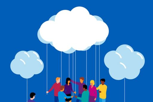 Illustration of people holding balloons shaped like clouds