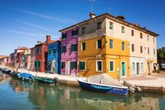 Colorful houses beside sea harbor in Argentina