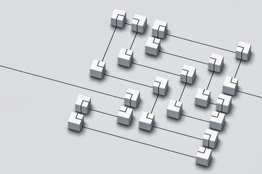Connected cubes on a grey background