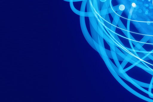 Connected messy lines against blue background