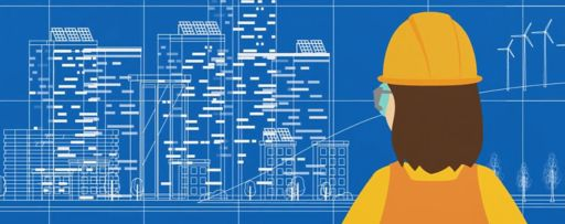 Construction man looking at map in screen