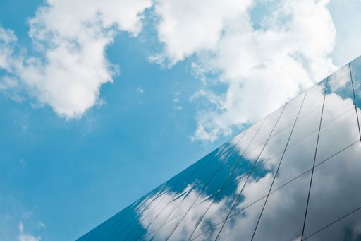 Clouds reflection on corporate buildings
