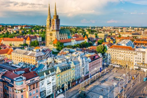 Aerial view of sunset on the city center buildings in Croatia.