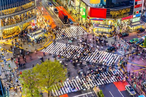 Crowded japanese market with people walking on zebra crossing
